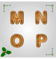 Gingerbread font m to p vector image vector image
