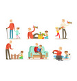 grandpa spending time with grandchild set vector image vector image