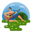 guy plays guitar in hiking on the vector image