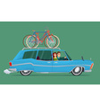 Happy family riding in a blue car Bicycle trip vector image vector image