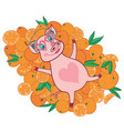happy pig in bright oranges vector image