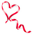 Heart made of red ribbon vector image vector image