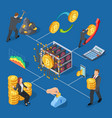 ico and blockchain isometric icons bitcoin mining vector image vector image