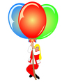 image pretty woman with colorful balloons vector image vector image