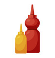 ketchup and mustard set icon plastic container vector image vector image