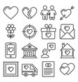 love icons set on white background line style vector image vector image