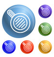 meal fry pan icons set vector image