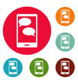 mobile chat icons circle set vector image