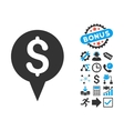 Money Map Marker Flat Icon with Bonus vector image vector image