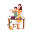 mother and little daughter making dough together vector image