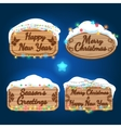 New year and christmas wooden boards vector image