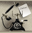 old telephone on vintage background and a paper vector image vector image