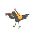 raven travelling with guitar and spyglass cute vector image vector image