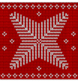 red knitted background with snowflakes vector image vector image