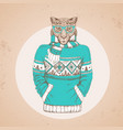 retro hipster animal cheetah dressed in pullover vector image vector image