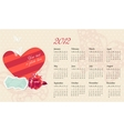 romantic calendar with frame and photo vector image vector image