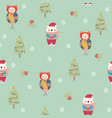 seamless pattern with owl and bear vector image