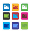 set colorful camera photo and video recorder or vector image vector image