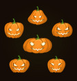 set of six pumpkins of different shapes for vector image