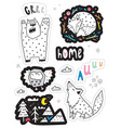 set with funny stickers with forest animas vector image vector image