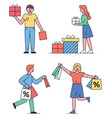 shopping people man and woman with gifts vector image vector image