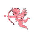 Sketch cute funny cupid aiming a bow and arrow