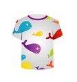 T Shirt Template- colorful fishes vector image vector image