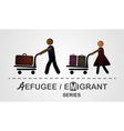 The man and woman move with luggage on the cart vector image