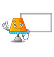 thumbs up with board character table office lamp vector image vector image