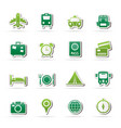travel trip and transportation icons vector image vector image