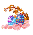Two easter eggs hidden in the garden vector image vector image