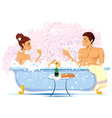 Two enamored in a bathroom vector image