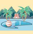 vacations place with pool scene icon vector image vector image