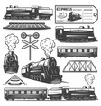 vintage monochrome locomotive elements collection vector image vector image