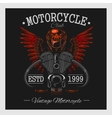 Vintage motorcycle print Monochrome on dark vector image vector image
