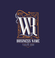 w and r logo letter based vector image