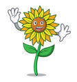 waving sunflower character cartoon style vector image vector image