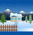 winter night with christmas treessnowy house and vector image