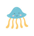 with cute cartoon jellyfish on white vector image