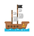 wooden pirate ship icon flat vector image