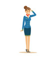young smiling stewardess in blue uniform vector image