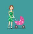 mother with baby in the stroller for a walk vector image