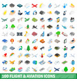 100 flight aviation icons set isometric 3d style vector image vector image