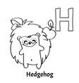 alphabet letter h coloring page hedgehog vector image vector image