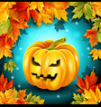 autumn leaves and pumpkin on wooden boards vector image vector image