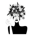 black and white stylized woman with flowers in vector image vector image