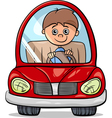 boy in car cartoon vector image