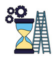 business stairs clock gears success vector image