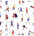 cartoon colorful crowd active people skating vector image