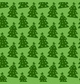 christmas trees seamless pattern green vector image vector image
